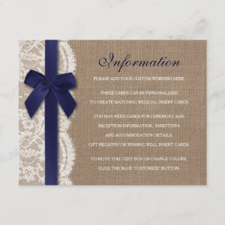 Navy Ribbon On Burlap & Lace Wedding Detail Enclosure Card