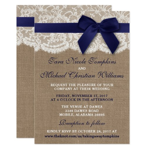 Navy Ribbon On Burlap & Lace Wedding Invitation