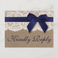 Navy Ribbon On Burlap & Lace Wedding RSVP Invitation Postcard