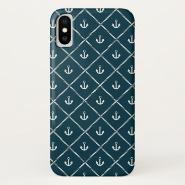 Navy Rope And Anchor Pattern iPhone X Case