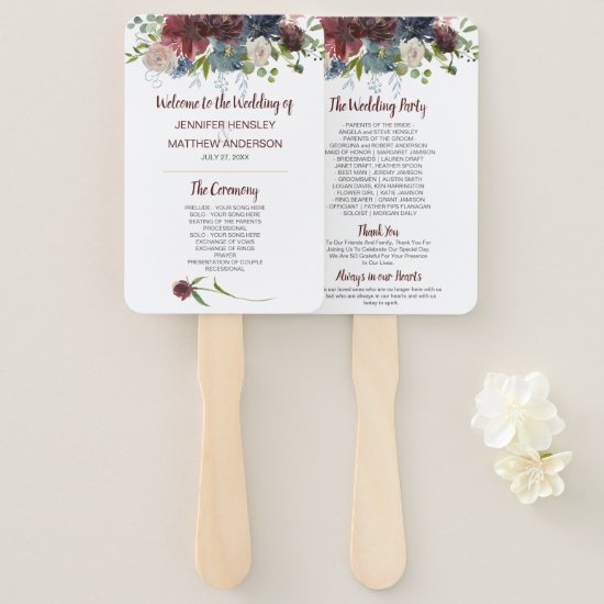 Navy Rose Burgundy Marsala Gold Floral Wedding Hand Fan