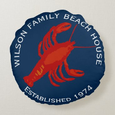 Beach Themed Navy Round Red Lobster Family Beach House Round Pillow