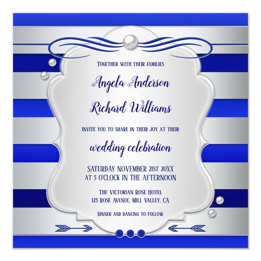 Navy Royal Blue Striped Silver Wedding Invitation