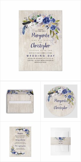 Navy Rustic Watercolor Flowers Floral Wedding Invitation Set