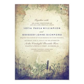 Navy Rustic Woodland Wedding Invitation
