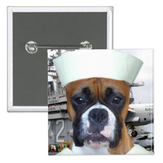 Navy Sailor Boxer Dog button