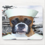 Navy Sailor Boxer Dog mousepad
