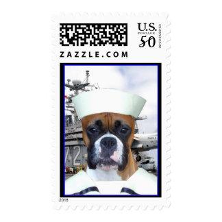 Navy Sailor Boxer Dog Postage