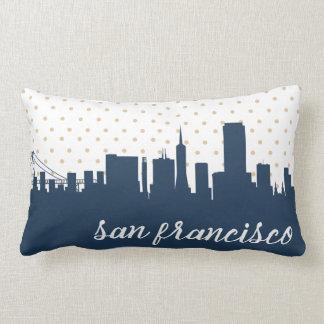navy San Francisco city skyline Lumbar Pillow