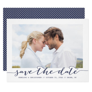 Navy Save the Date Script Frame Photo Announcement