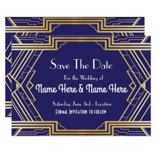Navy Save The Date Wedding Party Gold Invites