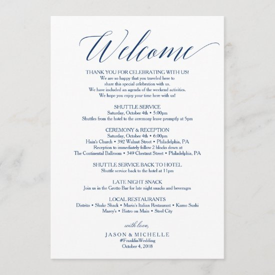Navy Script Wedding Itinerary Welcome Letter Program