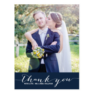 Navy | Script Wedding Thank You Vertical Postcard