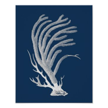 Beach Themed Navy Sea Coral #2 Coastal Wall Decor Poster