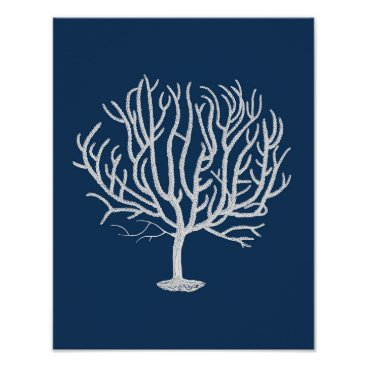Beach Themed Navy Sea coral #4 Coastal Wall Art