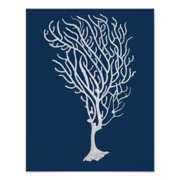 Beach Themed Navy Sea Coral #5 Coastal Wall Art