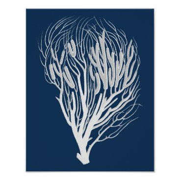 Beach Themed Navy Sea Coral #7 Beach Decor Wall Art