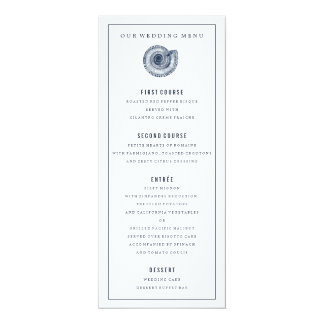Navy Sea Shell Wedding Dinner Menu Personalized Invites