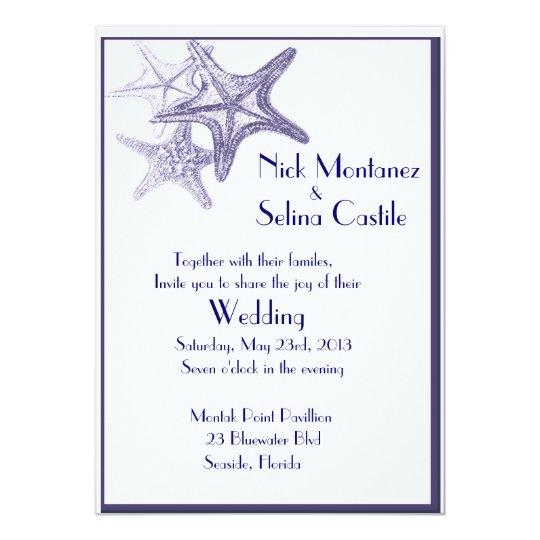navy sea star wedding invitation