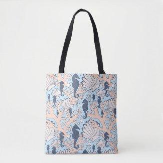 Navy Seahorse Gardens Tote Bag