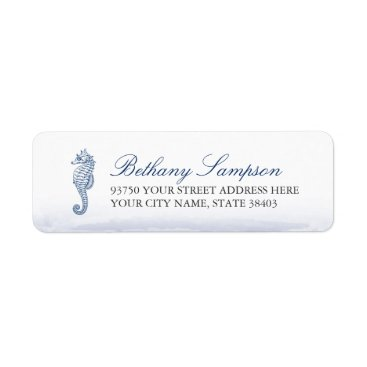 Beach Themed Navy Seahorse Return Address Labels