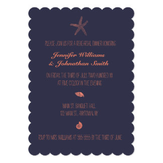 Navy shell rehearsal dinner invitations scalloped
