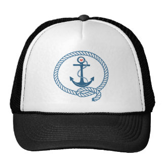Navy Ship Anchor with Pink Heart Trucker Hat