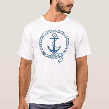 Beach Themed Navy Ship Anchor with Pink Heart T-Shirt