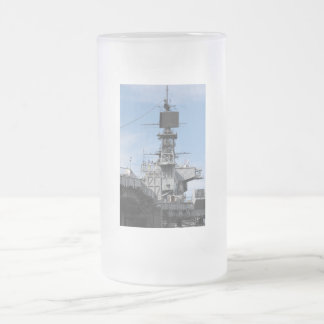 Navy Ship Frosted Glass Beer Mug
