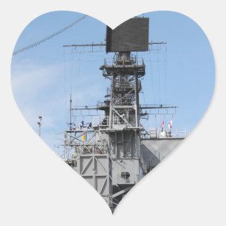 Navy Ship Heart Sticker