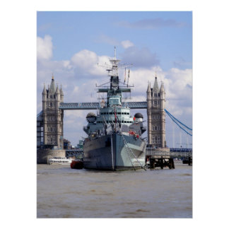 Navy Ship in the Thames London Poster