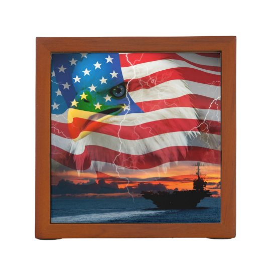 Navy Ship Sailing Into The Sunset Desk Organizer Zazzle