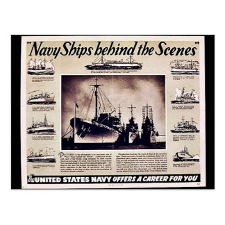 Navy Ships Behind The Scenes Postcard