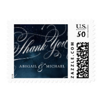 Navy silver calligraphy glam wedding thank you postage