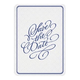 Navy Silver Damask Elegant Save the Date Card