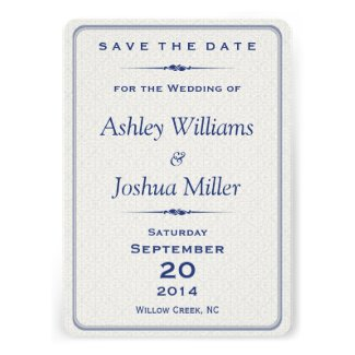 Navy Silver Damask Elegant Save the Date Cards
