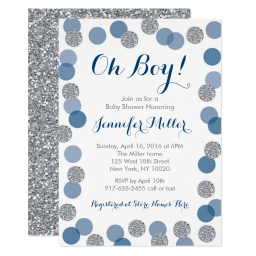 Navy & Silver Dot Baby Shower Invitations