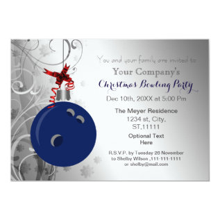 Navy Silver Festive Corporate Bowling Party Invite at Zazzle