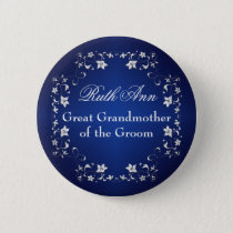 Navy Silver Floral Grandmother of the Groom Pin