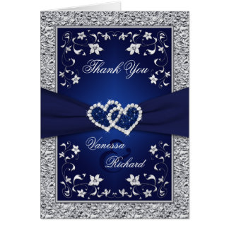 Navy Silver Floral Hearts FAUX Foil Thank You Card
