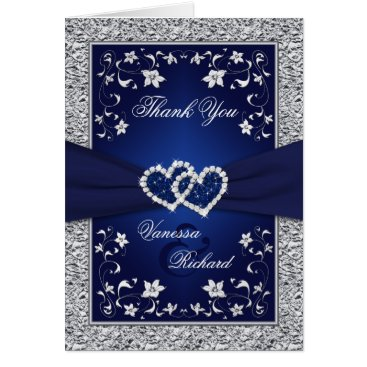 Valentines Themed Navy Silver Floral Hearts FAUX Foil Thank You Card