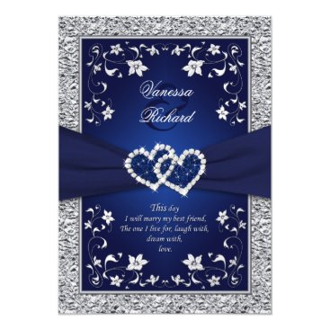 Valentines Themed Navy Silver Floral Hearts FAUX Foil Wedding Invite