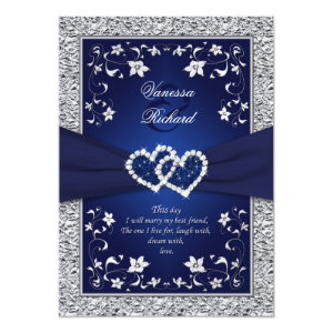 Navy Silver Floral Hearts FAUX Foil Wedding Invite 5