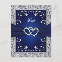 Navy Silver Floral Hearts FAUX Foil Wedding RSVP