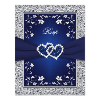 Navy Silver Floral Hearts FAUX Foil Wedding RSVP Card