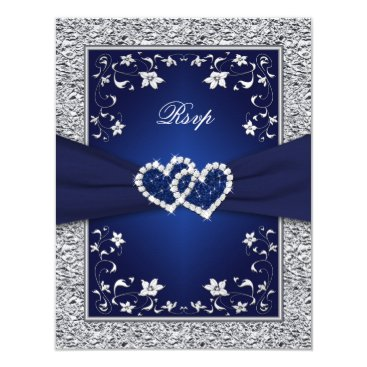 Valentines Themed Navy Silver Floral Hearts FAUX Foil Wedding RSVP Card