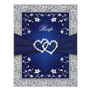 Navy Silver Floral Hearts FAUX Foil Wedding RSVP 4.25x5.5 Paper Invitation Card