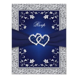 Navy Silver Floral Hearts FAUX Foil Wedding RSVP Invitation