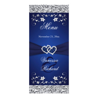 Navy, Silver Floral Joined Hearts Menu Card Customized Rack Card