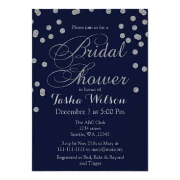 Navy Silver Glitter Bridal Shower Invite